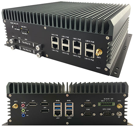FleetPC-9-B Car-PC (Intel Core i7-8700T 6x4.0Ghz, Autostart-Controller, 9-48V Automotive PSU, 10x LAN, 3x dP) [<b>FANLESS</b>]