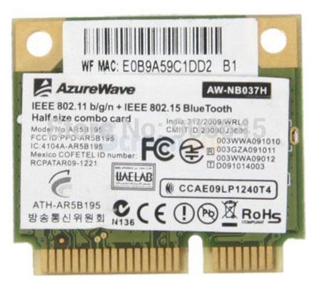 Wireless LAN / Bluetooth Mini-PCI Express [AzureWave AW-NB037H]