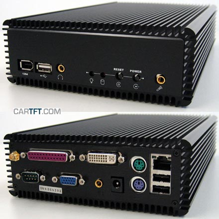 CALU-M-DVI-WLAN - P4-M Car-PC Barebone *FANLESS* --DualChannel (DVI+DSUB), <b>WLAN</b>-- (closed front)