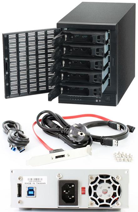 """CFI A7856CM USB 3.0 / eSATA 6G enclosure (5x 2.5""""/3.5"""", Hot-Plug, 250W)"""