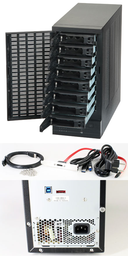 """CFI A7886CM USB 3.0 / eSATA 6G enclosure (8x 2.5""""/3.5"""", Hot-Plug, 300W)"""