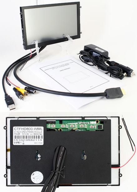 """CTFHD800-<b>WMS</b> - HDMI 8.0"""" (16:9) TFT - Touchscreen USB - Video - <b>OPEN-FRAME</b> (<b>1024x600, 1000 nits, LED</b>) <b>-TRANSFLECTIVE PRO-</b>"""
