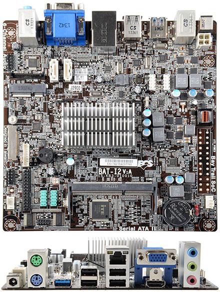 ECS BAT-I2(V2.0) Mini-ITX (Intel Bay Trail J1900, HDMI/VGA/LVDS, 19VDC) [<b>FANLESS</b>]