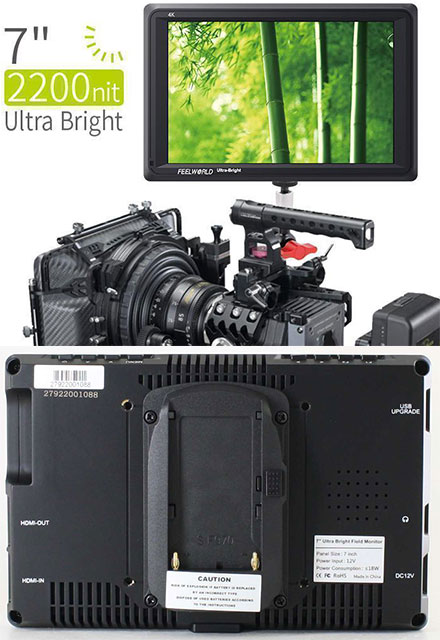 "Feelworld FW279 7"" 4K HDMI DSLR Field Camera Monitor (2200nits, sunlight-readable)"