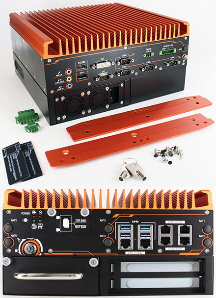 FleetPC-10 Car-PC (Intel Core i7-8700T 6x4.0Ghz, Autostart-Controller, 9-48V Automotive PSU, 6x LAN, 1x PCIe 3.0 x16) [<b>FANLESS</b>]