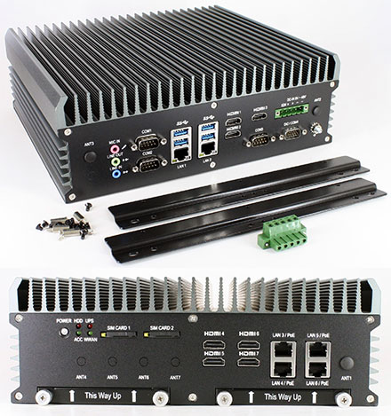 FleetPC-9-GTX1050 Car-PC (Intel Core i7-6700TE 4x3.4Ghz, NVIDIA GeForce GTX 1050 GPU, Autostart-Controller, 9-48V Automotive PSU, 6x LAN, 7x HDMI) [<b>FANLESS</b>]
