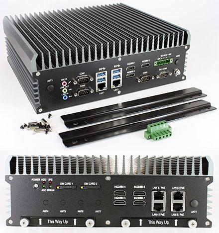 FleetPC-9-E9260 Car-PC (Intel Core i7-6700TE 4x3.4Ghz, AMD Embedded Radeon E9260 GPU, Autostart-Controller, 9-48V Automotive Netzteil, 6x LAN, 7x HDMI) [<b>FANLESS</b>]
