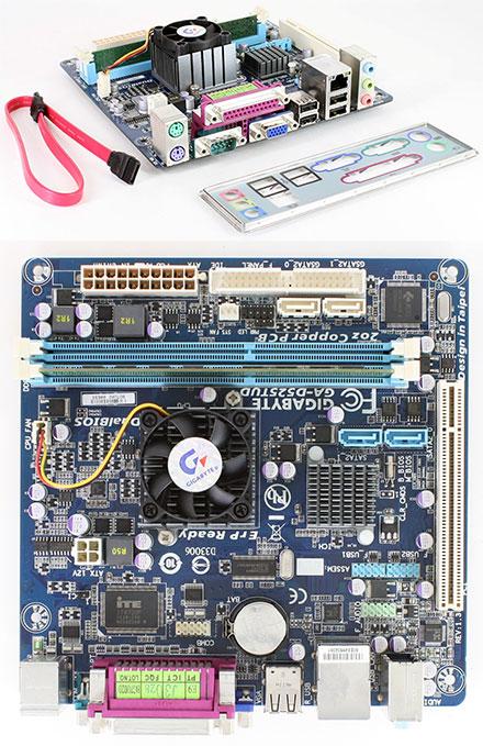 Gigabyte GA-D525TUD (Intel Atom 2x 1.8GHz, Mini-ITX, with 1GB Kingston RAM, 1 year warranty) <b>[REFURBISHED]</b>