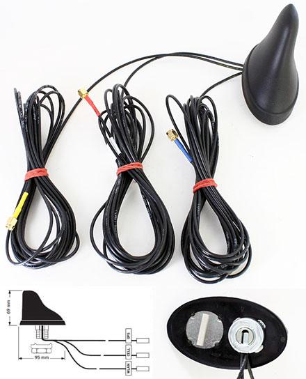 Hirschmann GPS 2400 CELLULAR (Triple vehicle root antenna, 3x SMA male 5m, GPS/GLONASS/GSM/UMTS/LTE/WLAN/BT) [955181004]