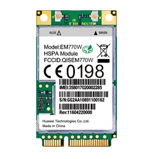 HSPA / UMTS / EDGE Mini-PCIe Modem (Huawei EM770W)
