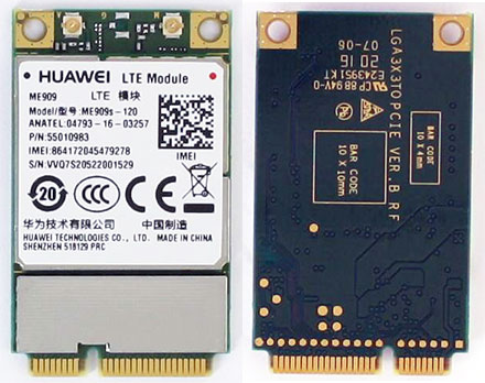 HSPA / UMTS / EDGE / LTE 4G Mini-PCIe Modem (Huawei ME909s-120)