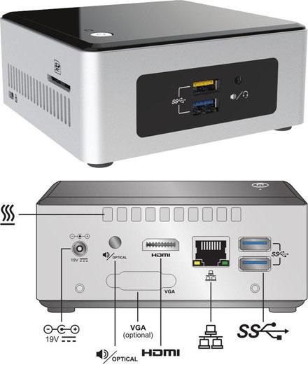 "Intel NUC5PPYH (Intel Pentium N3700 CPU 4x 1.60Ghz, 1x HDMI, 2.5"" HDD/SSD support)"