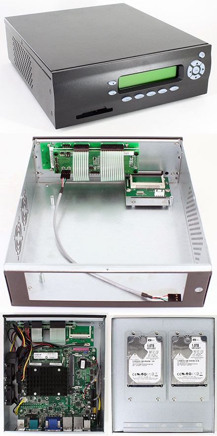 M400-LCD Mini-ITX Appliance enclosure (picoLCD 20x2, CF USB Slot, 2x HDD/SSD)