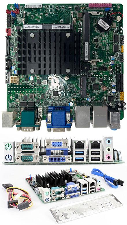 Mitac PD11BI-PSU (Intel D2500CC2) (Intel Bay Trail Celeron J1900 4x2.42Ghz CPU, 2x LAN, 4x RS232, Onboard PSU) [<b>FANLESS</b>]