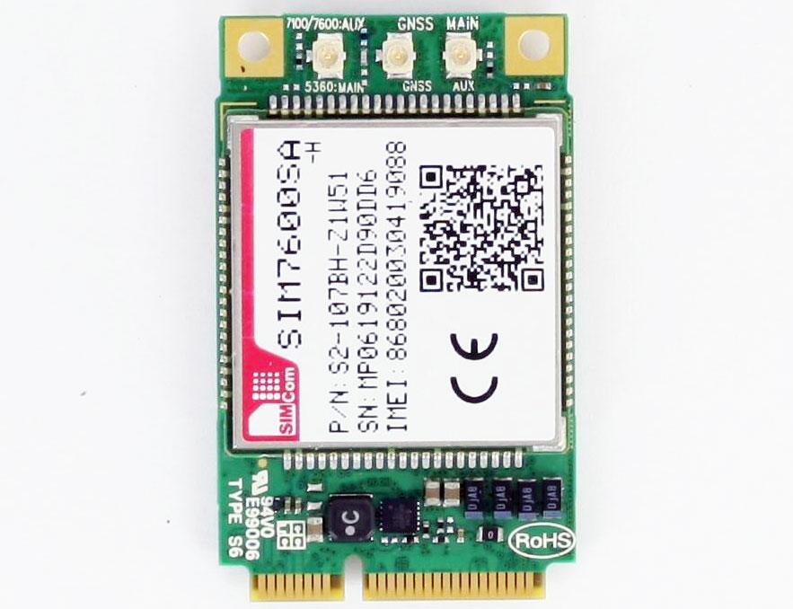 HSPA / UMTS / EDGE / <b>LTE 4G</b> Mini-PCIe Modem (Simcom SIM7600SA-H) [LTE Australia, South America]