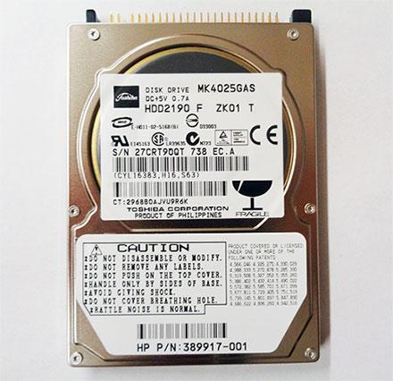 "Toshiba MK4025GAS (2,5"" HDD 40GB, IDE/PATA)"
